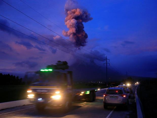 A view of the Mayon Volcano after a new eruption in Camalig, Albay province, south of Manila