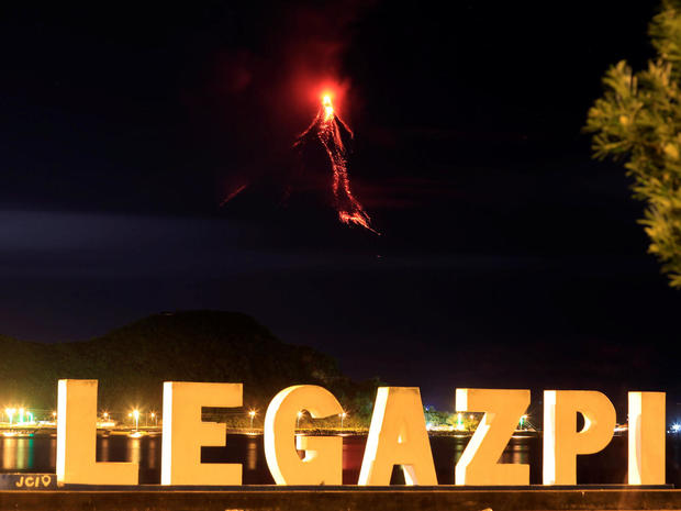 Lava flows from the crater of Mount Mayon Volcano during anew eruption in Legazpi city