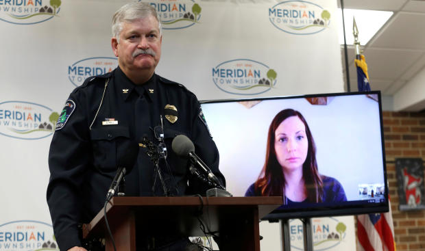 Meridian Township Police Chief Dave Hall publicly apologizes to assault victim Brianne Randall-Gay, on video conference screen, for failing to properly investigate her 2004 allegations against Larry Nassar, a former USA Gymnastics team doctor who pleaded