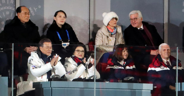 Dignitaries sit at the Winter Olympics opening ceremony in Pyeongchang