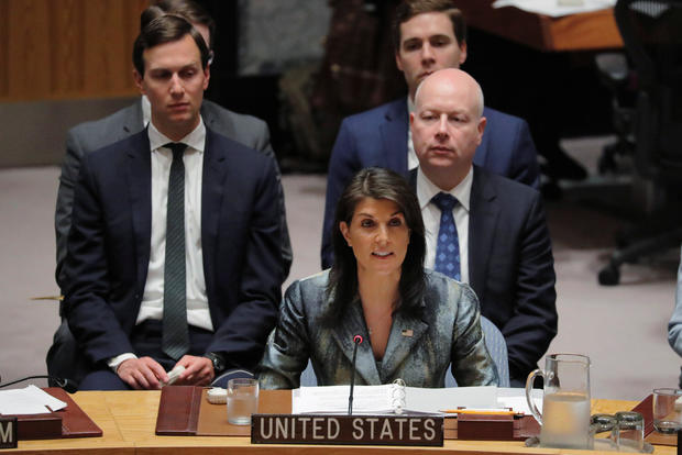 United States Ambassador to the UN Nikki Haley speaks in front of White House senior adviser Jared Kushner during a meeting of the UN Security Council at UN headquarters in New York