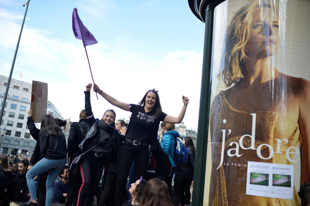 Protesters take part in a demonstration for women's rights in Bilbao