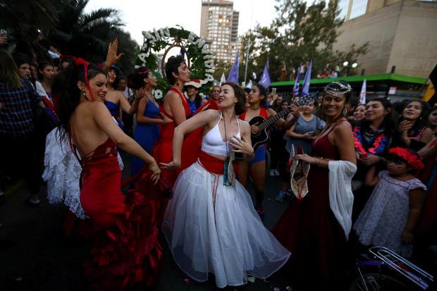 Women take part in a march to mark International Women's Day in Santiago