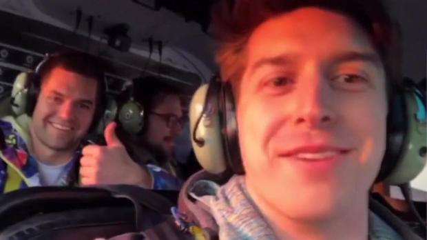 Brian McDaniel, left, and Trevor Cadigan are seen in a helicopter over New York City in this image capture from a video posted to Instagram before the helicopter crashed in the East River on March 11, 2018.