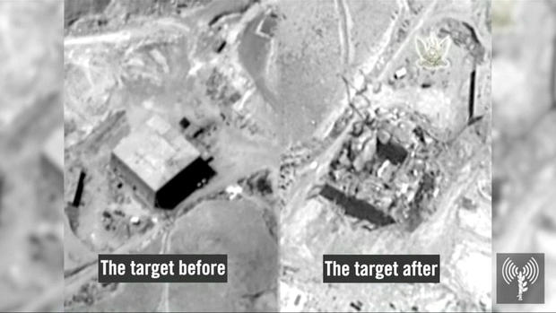 A still frame taken from video material released on March 21, 2018 shows a combination image of what the Israeli military describes is before and after an Israeli air strike on a suspected Syrian nuclear reactor site near Deir al-Zor