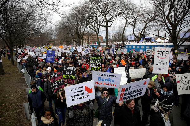 """Students and gun control advocates attend the """"March for Our Lives"""" event after recent school shootings, at a rally in Chicago"""
