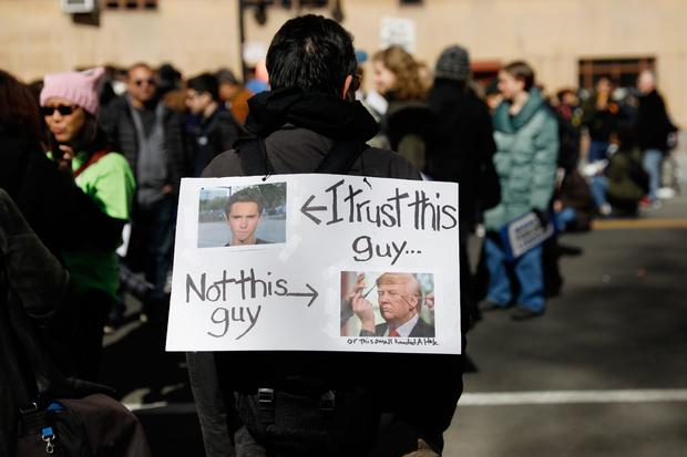 """A protester holds a gun control sign during a """"March For Our Lives"""" demonstration demanding gun control in New York City"""