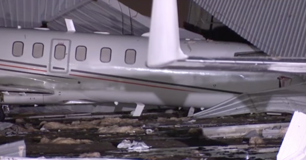 Houston airport hangar collapses in strong storms