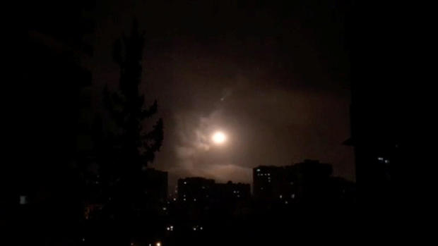 Syria air defences strike back after air strikes by U.S., British and French forces in Damascus