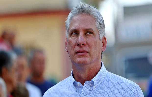 Cuba's then-First Vice-President Miguel Diaz-Canel stands in line before casting his vote during an election of candidates for the national and provincial assemblies, in Santa Clara, Cuba, March 11, 2018.