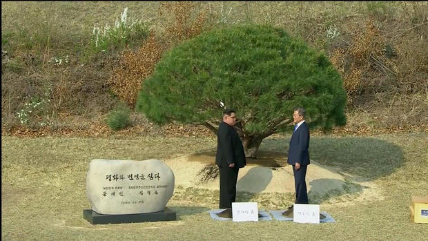 South Korean President Moon Jae-in and North Korean leader Kim Jong Un attend tree planting ceremony during the inter-Korean summit at the truce village of Panmunjom