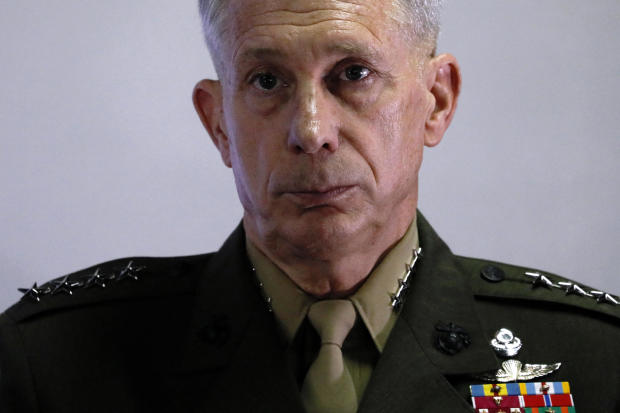 U.S. Marine Corps Gen. Thomas Waldhauser holds a news conference at Camp Lemonnier on April 23, 2017, in Ambouli, Djibouti.