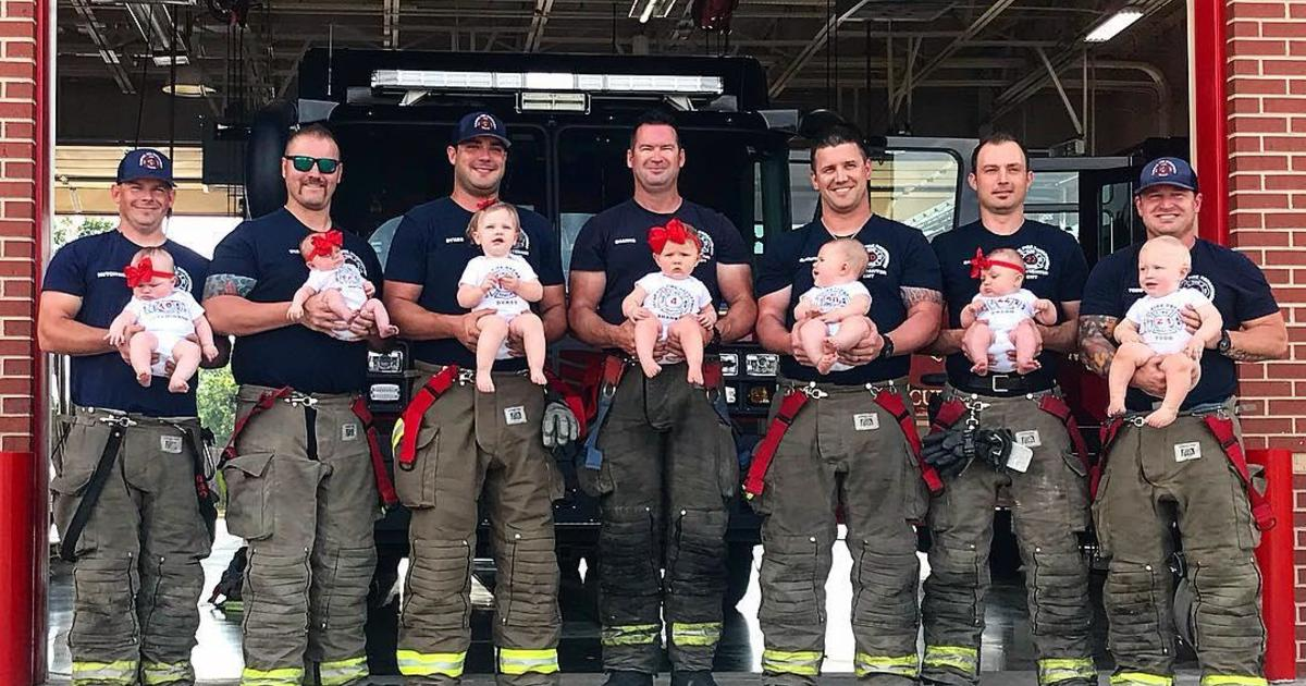 baby boom  oklahoma newborns and firefighter dads pose for
