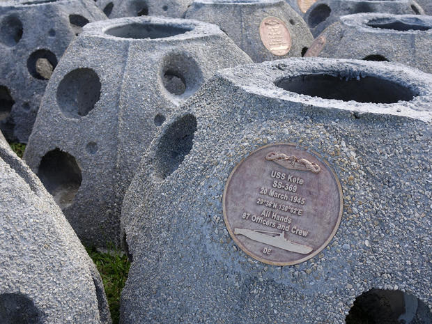 Some of the 66 Eternal Reef balls with plaques representing each of the submarines and crewmembers lost at sea since 1900, in Sarasota