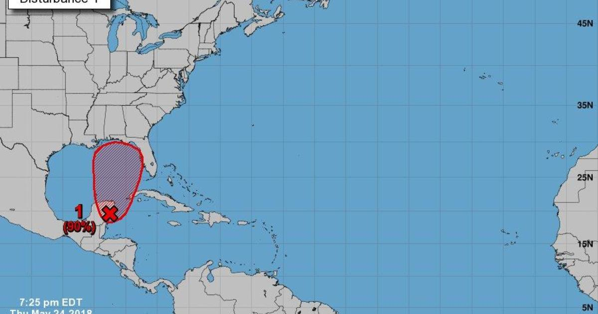 3ccb7d0634 Tropical Storm Alberto may form this weekend, National Hurricane Center  says 90% chance of first named storm - CBS News