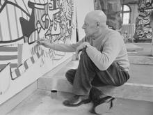 Artist Jean Dubuffet Working on Art