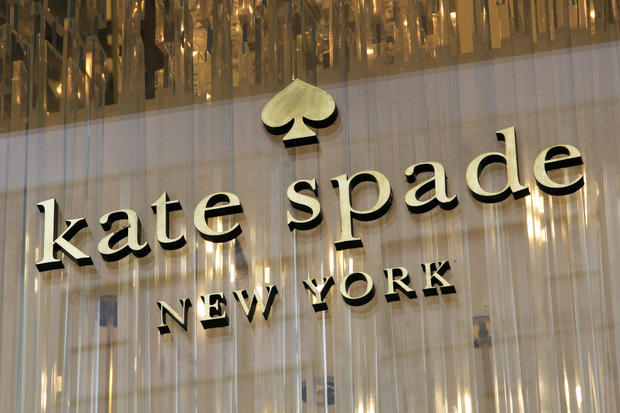 The Kate Spade logo is shown at her Madison Avenue store June 5, 2018, in New York.