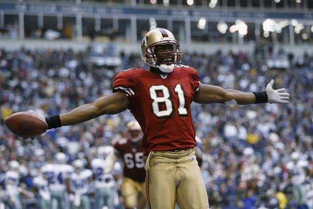 Owens celebrates a touchdown