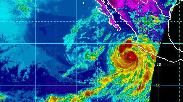 Hurricane Bud is seen along Mexico's Pacific coast in an infrared satellite image capture at 2:30 p.m. ET on June 11, 2018.