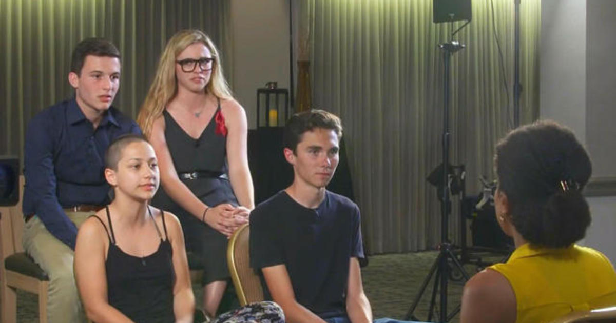 parkland students take gun control message on the road cbs news
