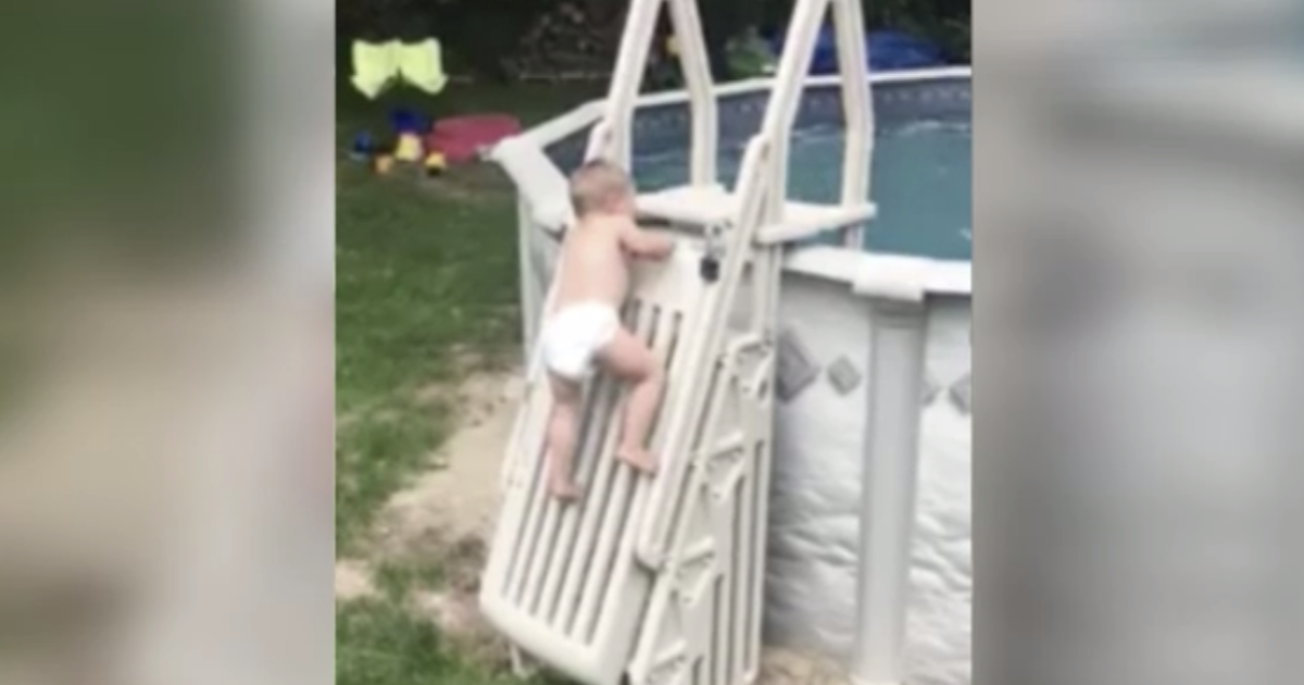 Dadu0027s Viral Video Of Toddler Climbing Up Pool Ladder Is A Warning To  Parents About Pool Safety   CBS News