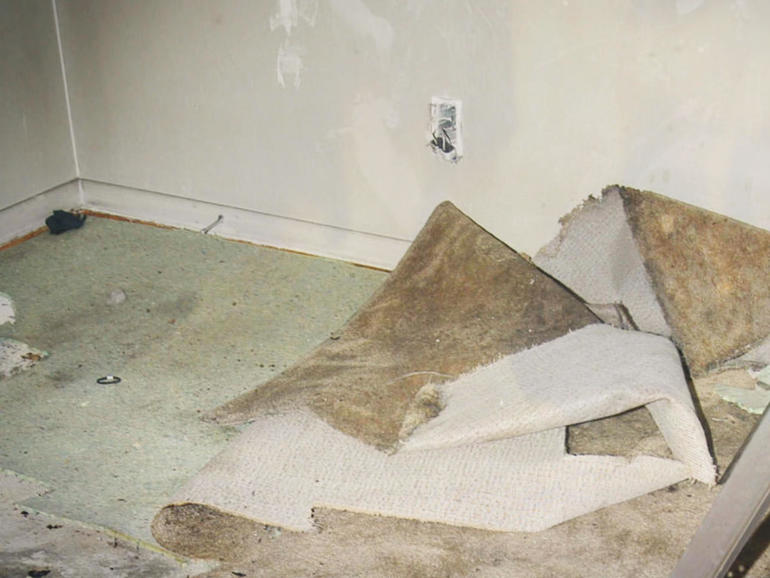 Missing carpet in Holley Wimick's aprtment