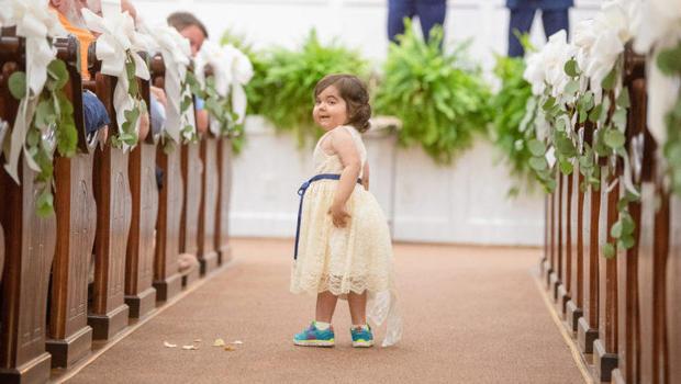 Toddler cancer survivor serves as flower girl to bone marrow donor