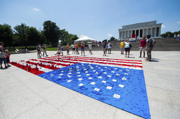 The 16 ft wide by 31 ft long LEGO mural of an American flag in front of the Lincoln Memorial. JOY ASICO / AP IMAGES FOR THE LEGO GROUP by LEGO® 4th of July