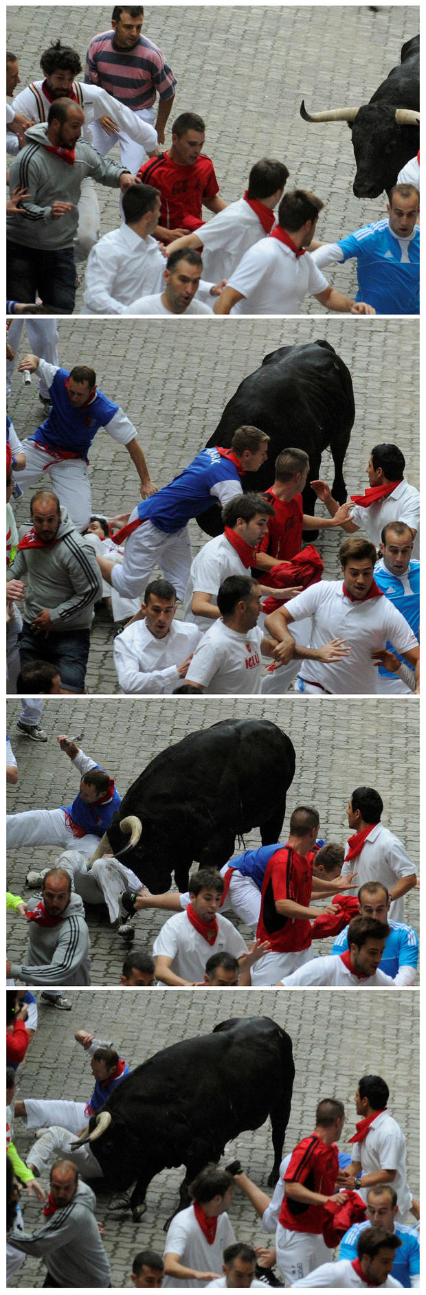 FILE PHOTO: A combination photo shows American Bill Hillmann getting gored in the right thigh during the third running of the bulls at the San Fermin festival in Pamplona