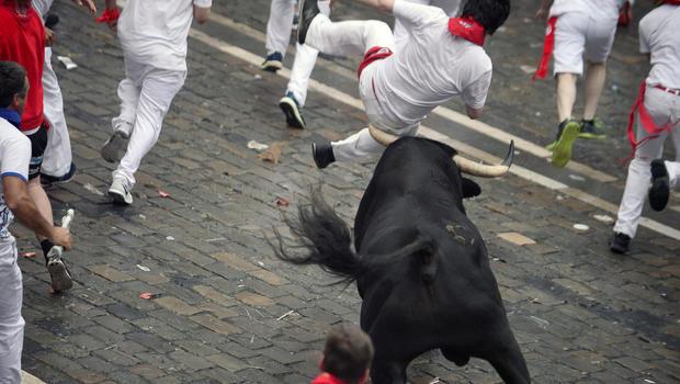 """Running of the Bulls"" in Pamplona, Spain"