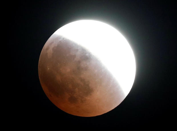 The moon is seen during a lunar eclipse over Nairobi
