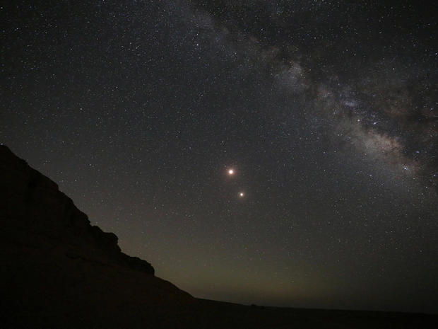 """A """"Blood Moon"""" is seen during a lunar eclipse at the desert of Al Fayoum Governorate, south west of Cairo"""