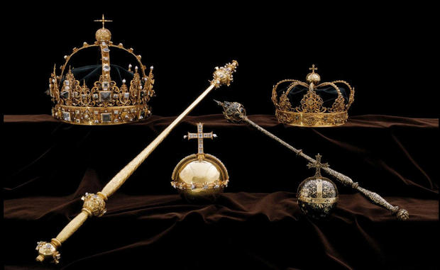 The Swedish Royal Family's crown jewels from the 17th century are stolen from Strangnas Cathedral, in Strangnas