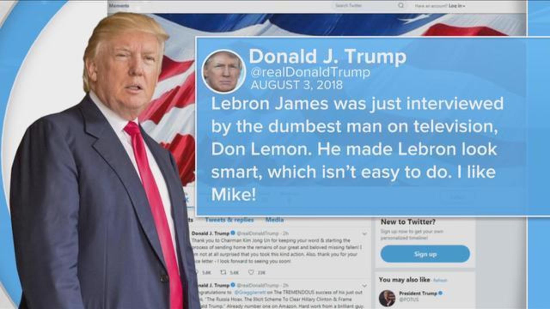 Trump Takes A Shot At Lebron James On Twitter Cbs News