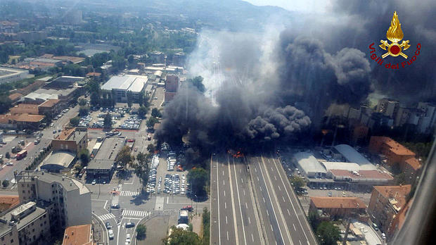 An accident caused a large explosion and fire on a motorway at Borgo Panigale, on the outskirts of Bologna, Italy, Aug. 6, 2018.