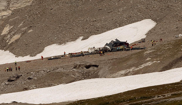 General view shows the accident site of a Junkers Ju-52 airplane near Flims