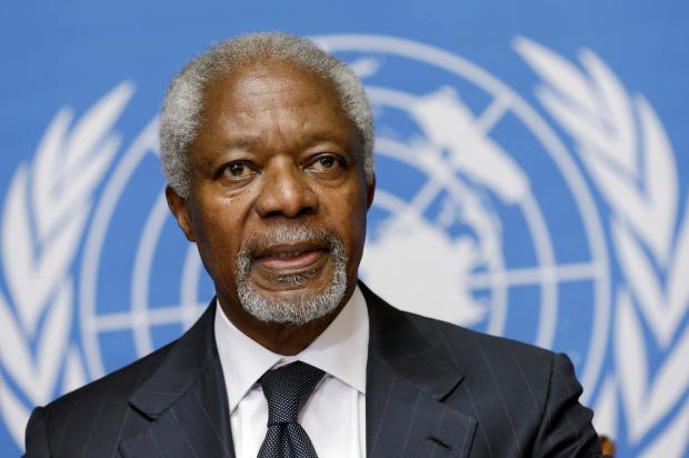 FILE PHOTO -  U.N.-Arab League mediator Annan addresses a news conference in Geneva