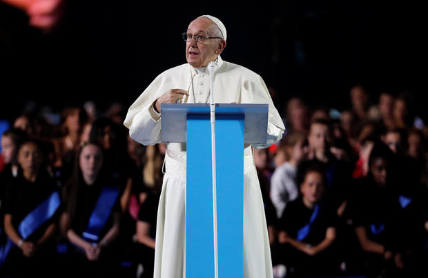 Pope Francis speaks during the Festival of Families at Croke Park during his visit to Dublin