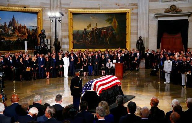 Late U.S. Senator John McCain lies in state inside the U.S. Capitol Rotunda in Washington