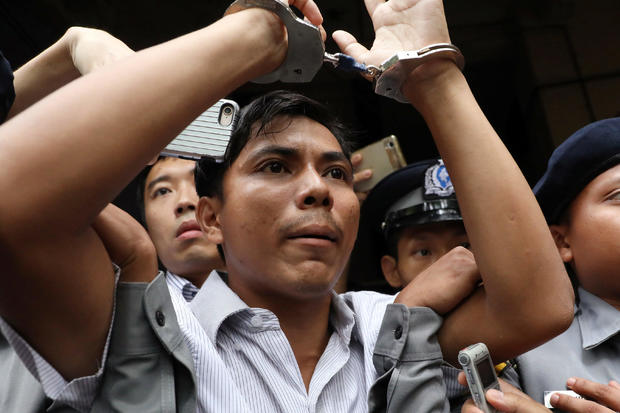 Reuters journalists Kyaw Soe Oo leaves after listening to the verdict at Insein court in Yangon