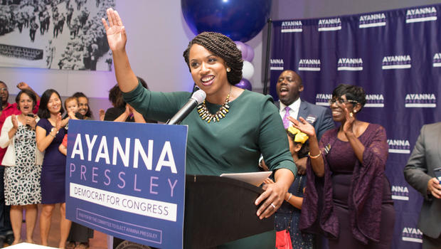 Ayanna Pressley gives a victory speech at her primary night gathering on Sept. 4 2018 in Boston Massachusetts.                        Getty
