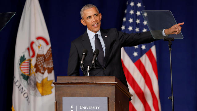 Former U.S. President Barack Obama speaks at the University of Illinois Urbana-Champaign