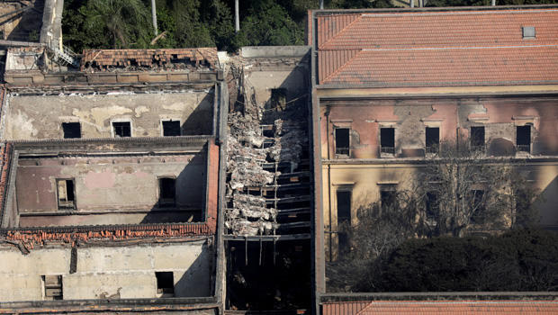 An aerial view of the National Museum of Brazil after a fire burnt it in Rio de Janeiro