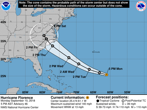 A map made by the National Hurricane Center shows the projected path of Hurricane Florence as of 5 p.m. ET on Sept. 10, 2018.