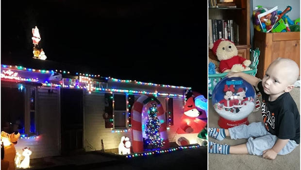 neighborhood celebrates christmas early for 2 year old boy dying of brain cancer cbs news - Who Celebrates Christmas