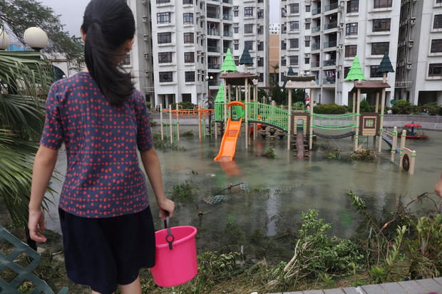 A park is flooded by seawater after Typhoon Mangkhut hit Hong Kong