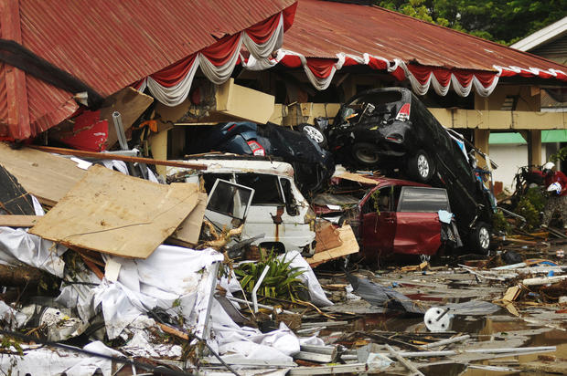 Damage from an earthquake and tsunami can be seen in Palu, Central Sulawesi