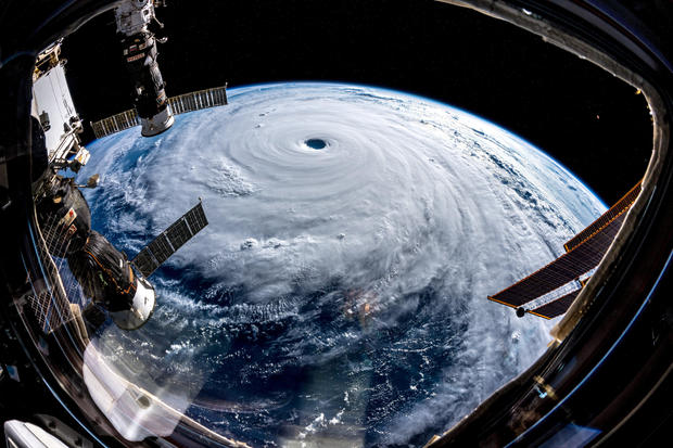 Super typhoon Trami is seen from the International Space Station as it moves in the direction of Japan