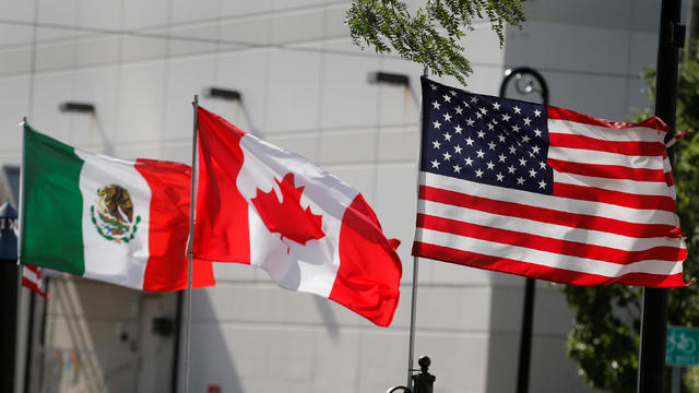 Flags of the U.S., Canada and Mexico