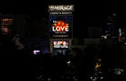 A view of the Las Vegas Strip as many casinos dim their lights in honor of the October 1, 2017 mass shooting victims during the one-year anniversary of the shooting in Las Vegas